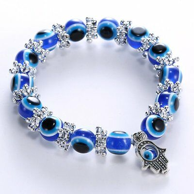 Fashion Blue Evil Eye Bead Protection Good Luck Bracelet Turkish Hand Bangle Hot](Blue Bead Bracelet)