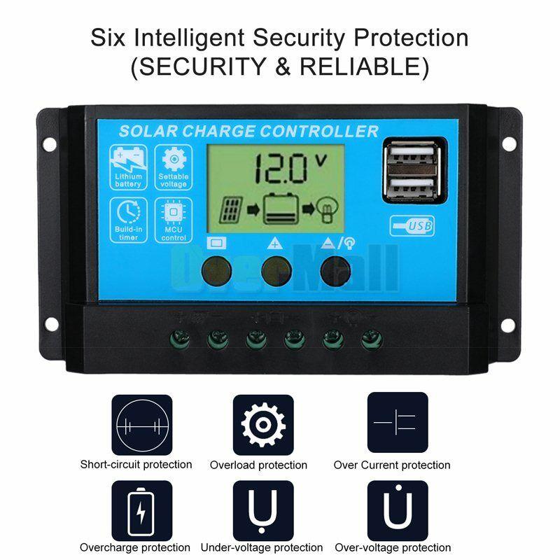 MPPT Solar Panel Regulator Charge Controller Auto Focus Tracking 30-100A 12V/24V 8