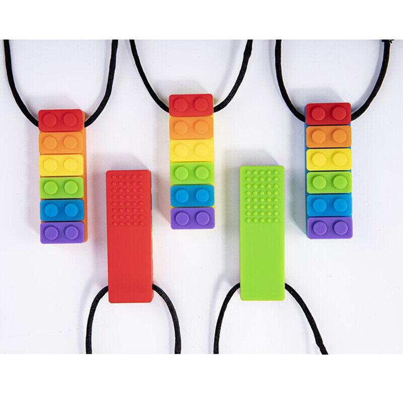 1PC Rainbow Baby Brick Chew Necklace Silicone Teether Autism
