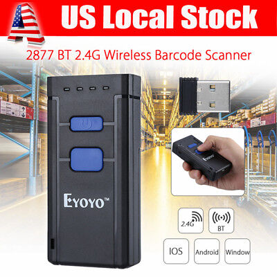 MJ-2877 Portable Wireless BTOOTH Barcode Laser Scanner for Apple iOS Android