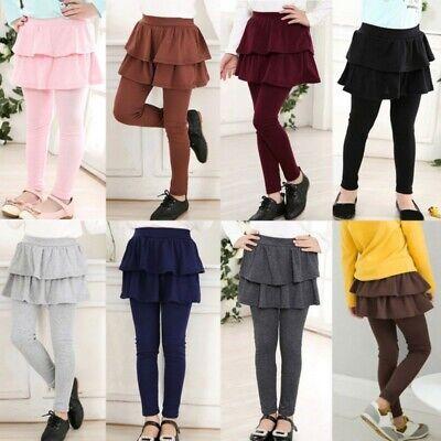 3-11Y Girls Warm Cake Culottes Leggings with Ruffle Tutu Skirt Pants Trousers US](Girls Ruffle Leggings)
