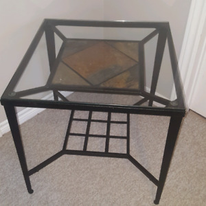 Pair of glass end tables