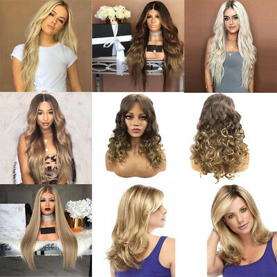 Synthetic Women With Baby Hair Wigs Long Curly Straight Wavy Hair Cosplay Party (Baby Wigs)
