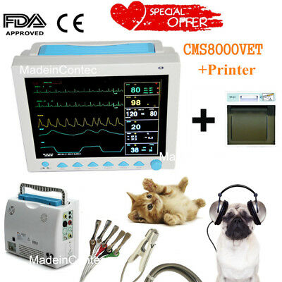 Usa Veterinary Icu Vital Signs Patient Monitor 12.1 Displayprinter 6 Cuffs
