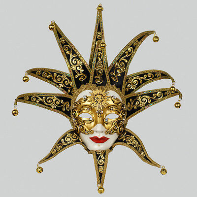 Mask from Venice Volto Jolly Black Golden Baroque in Paper Mache 1641- VG3