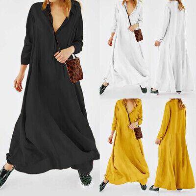 Womens Long Sleeve V Neck Long Maxi Dress Kaftan Evening Party Shirt Dress Plus