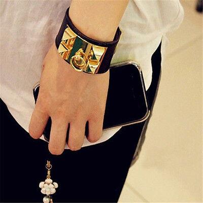 (Vintage Women Punk Stud Pyramid Metal Leather Wristband Bangle Cuff Bracelet  )