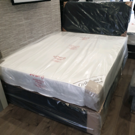 Double divan bed with mattress matching headboard packaged can deliver
