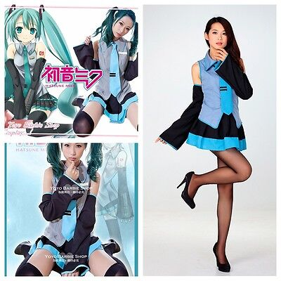 Hatsune Miku Vocaloid Anime Dress w/Tie Costume Set For Halloween Cosplay Party - Miku Halloween Cosplay