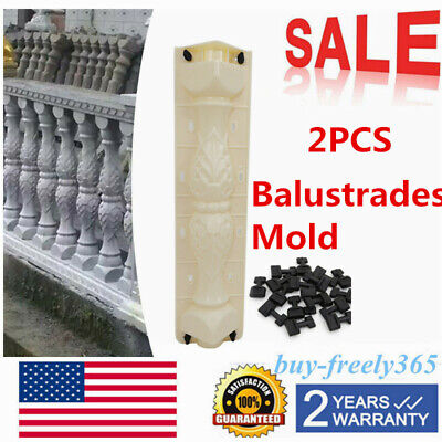 New Cement Plaster (2Pcs Moulds Balustrades Mold for Concrete Plaster Cement Plastic Casting US SALE )