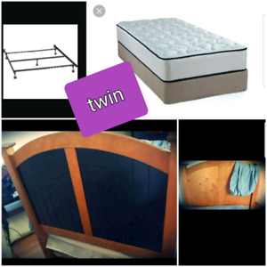 Twin mattress with boxspring, headboard and frame