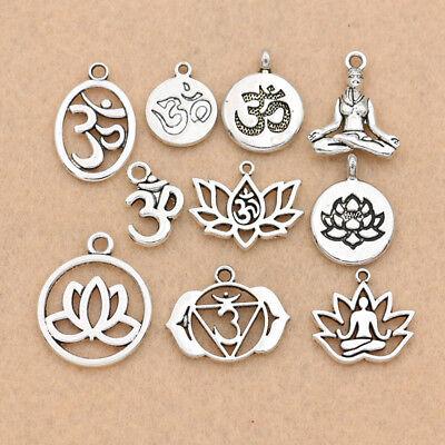 Antique Silver Zinc Alloy YOGA OM Charm Pendant for Making Neclace Bracelet (Yoga Charms)