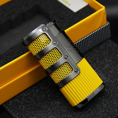 COHIBA Yellow Gridding Stripes Jet Torch Flame Cigarette Cigar Lighter W/Punch