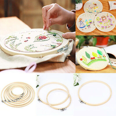 - Embroidery Wooden Frame Hoop Ring Cross Stitch Sewing DIY Tool Art Bamboo Crafts