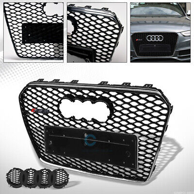 Fit 13-16 Audi A5/S5 B8.5 Blk/Chrome RS-Honeycomb Mesh Front Bumper Grill Grille