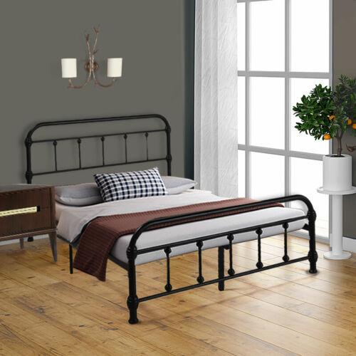Full Size Metal Iron Bed Frame Foundation Platform Bedroom w/Headboard Footboard