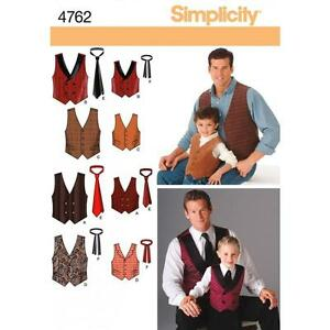 SIMPLICITY SEWING PATTERN Boys' and Men's Vests and Ties SIZES S - XL   4762