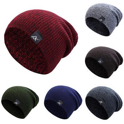 Soft Casual Striped Knitted Hat Skullies Beanies Cap Ski Winter Warm Men Women