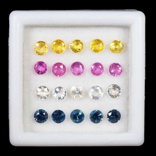 VVS 20 Pcs Natural Multi Sapphires 2.8mm-3mm Round Cut Exclusive Gemstones Lot
