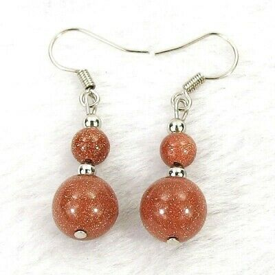"""Red Sand Goldstone 10 & 6mm Round Gem Bead Silver-Plated Hook Earrings 1.5"""" 4.6g"""