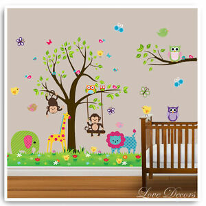 Owl Animal Wall Stickers Lion Jungle Zoo Tree Nursery Baby Room Decals Mural Art Ebay