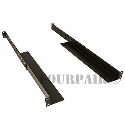 1 Space 1U - Adjustable Depth Audio Network 4-Post Rack Mount Server Shelf Rails
