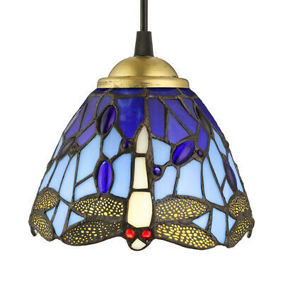 Victorian Pendant Blue Stained Glass Ceiling Lamp Dragonfly Suspension Lamp