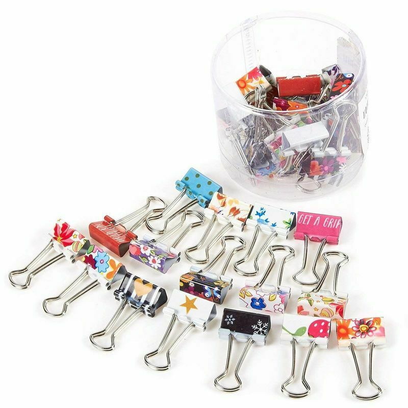 Colored Binder Clips - 40-Pack Paper Clamps, Binder Clips Bulk for Office Work