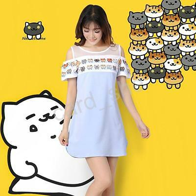 Japanese Game Neko Atsume ねこあつめ Cute Cat One-piece Dress Fresh Strapless dress