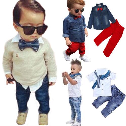 Kinder Baby Jungen Gentleman Hemd Oberteile Denim Jeans Hose Outfit Partyanzug