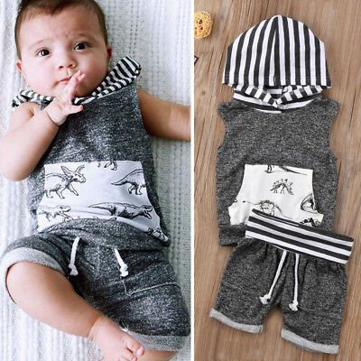 US 2pcs Dinosaur Baby Boys T-shirt Tops+Pants Trousers Outfit Kids Clothes Set - Childrens Dinosaur Outfit