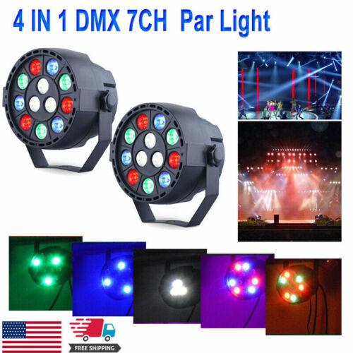 2pcs 12 LED RGBW DMX 7CH Beam Stage Par Lighting Party Disco