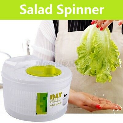 Large Plastic Salad Spinner Leaf Dryer Lettuce Veg Drainer D