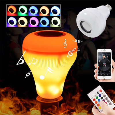 LED Wireless Bluetooth Bulb Light Speaker E27 RGB Smart Music Play Lamp + Remote