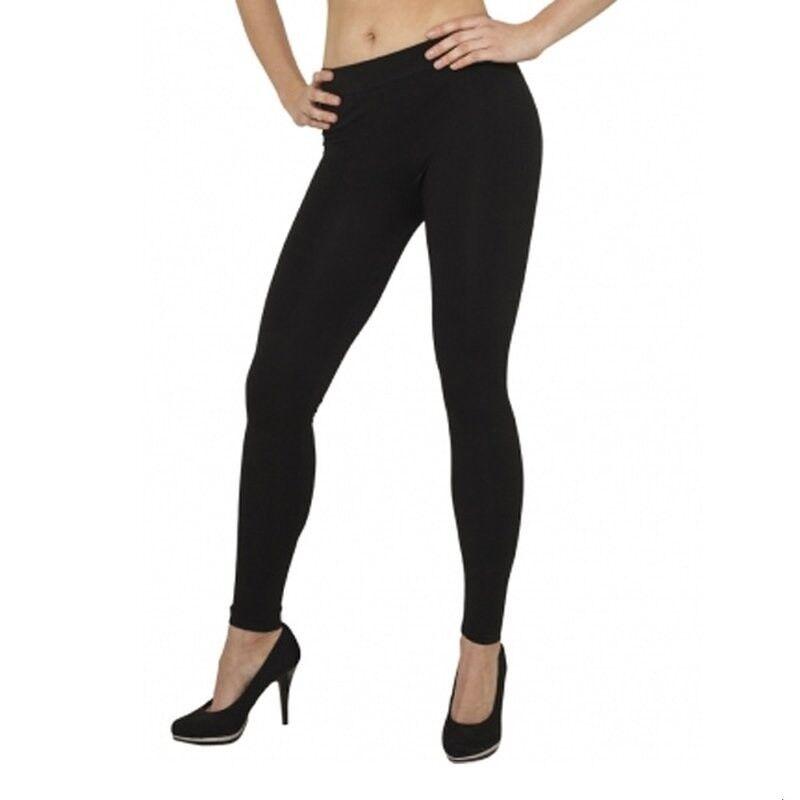 Seamless Damen Leggins Leggings ohne Seitennaht Blickdicht Schwarz M XL