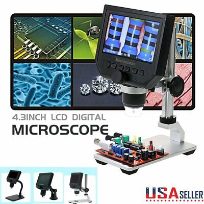 Portable 4.3 600x Lcd Monitor Electronic Digital Microscope Led Magnifier 1080p