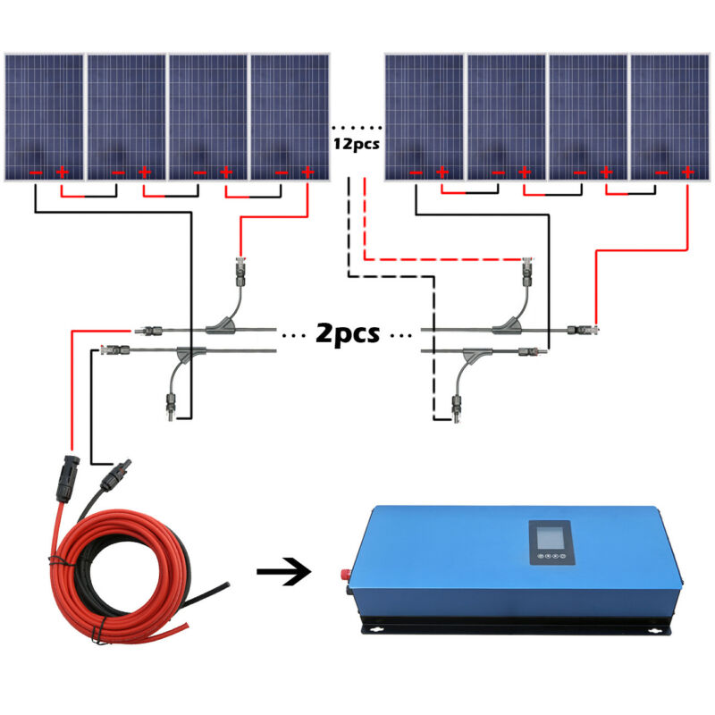2kw Home Grid Tie System 20pcs 100w Solar Panel & Solar Power Inverter Home Us