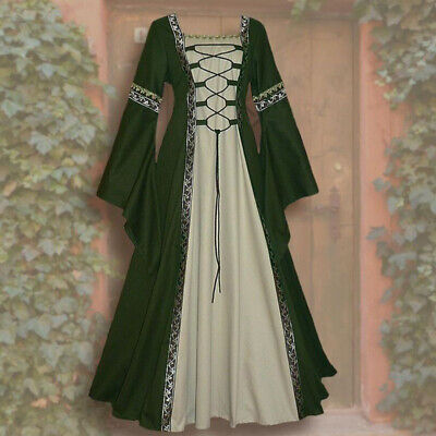 aissance Frauen Spitze Langarm Kleid Kleid Kostüm (Renaissance Kleider)