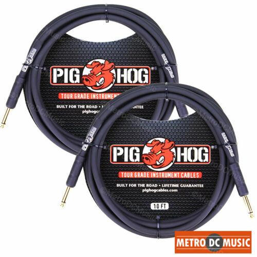 """2-Pack PIG HOG 10 foot ft 1/4"""" STRAIGHT GUITAR INSTRUMENT CABLE PH10 NEW"""