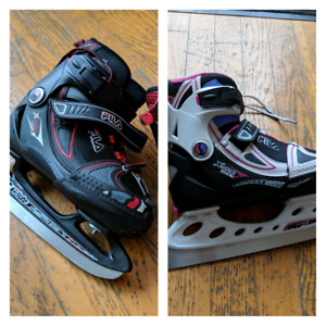2 paires - adjustable ice skates - patins ajustables