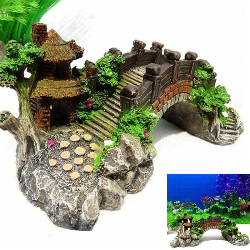 Aquarium Ornament Photography Prop Decoration Fish Tank Bridge Landscape Tree