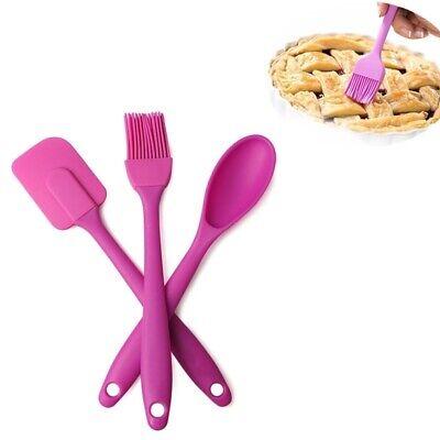 3pcs/set Silicone Baking Tool Spatula Cooking Cake Tool (Scraper+ Brush + Spoon)
