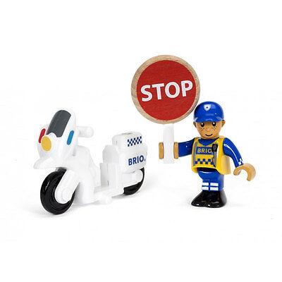 Brio 33861 Motorrad-Polizistin für Holzeisenbahn NEU! #