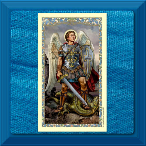 Saint Michael LAMINATED Holy Card Spiritual Armor Prayer Gilded Gold