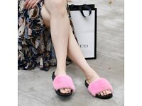 DAYMISFURRY --- Mink Fur Slippers-Pink