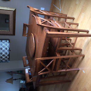 Square bar height table with chairs