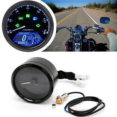 LCD Digital Universal Motorcycle Odometer Speedometer Tachometer 12000RPM Gauge