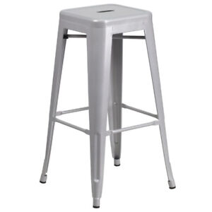 Indoor-Outdoor Square Metal Bar Stools (red and silver)