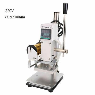 220v Digital Display Manual Hot Foil Stamping Machine Leather Stamper 10x8cm
