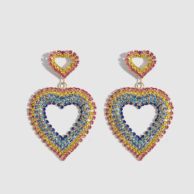 Rainbow Heart Crystal Rhinestone Earrings 2.5